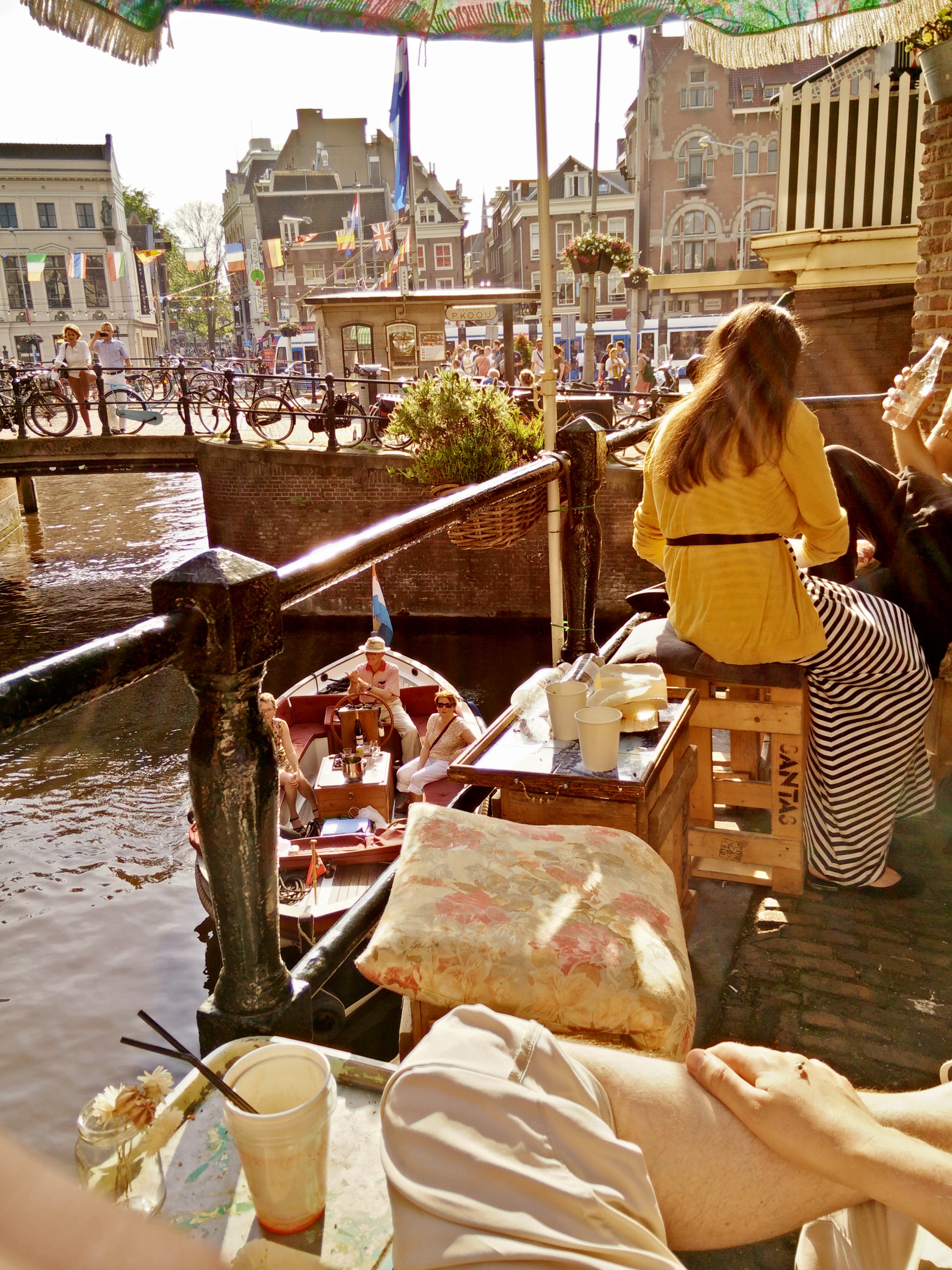 balcony of bakery and café De Laatste Kruimel over the canal Grimburgwal in Amsterdam