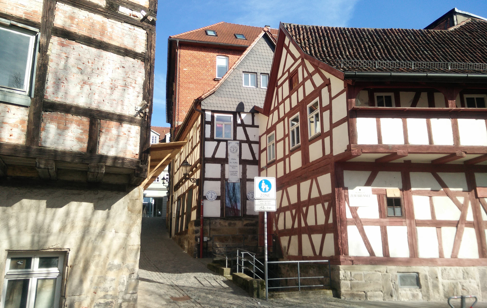 half-timbered houses in Brunngasse in Coburg