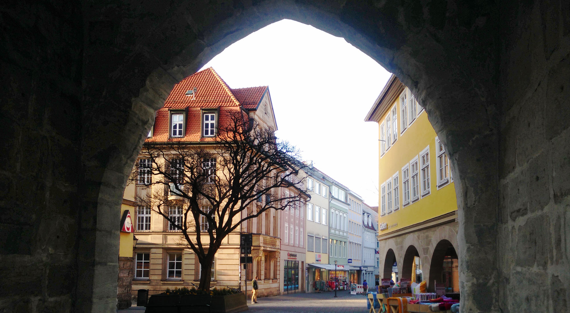 view through the hospital gate Spitaltor in the medieval town wall of Coburg
