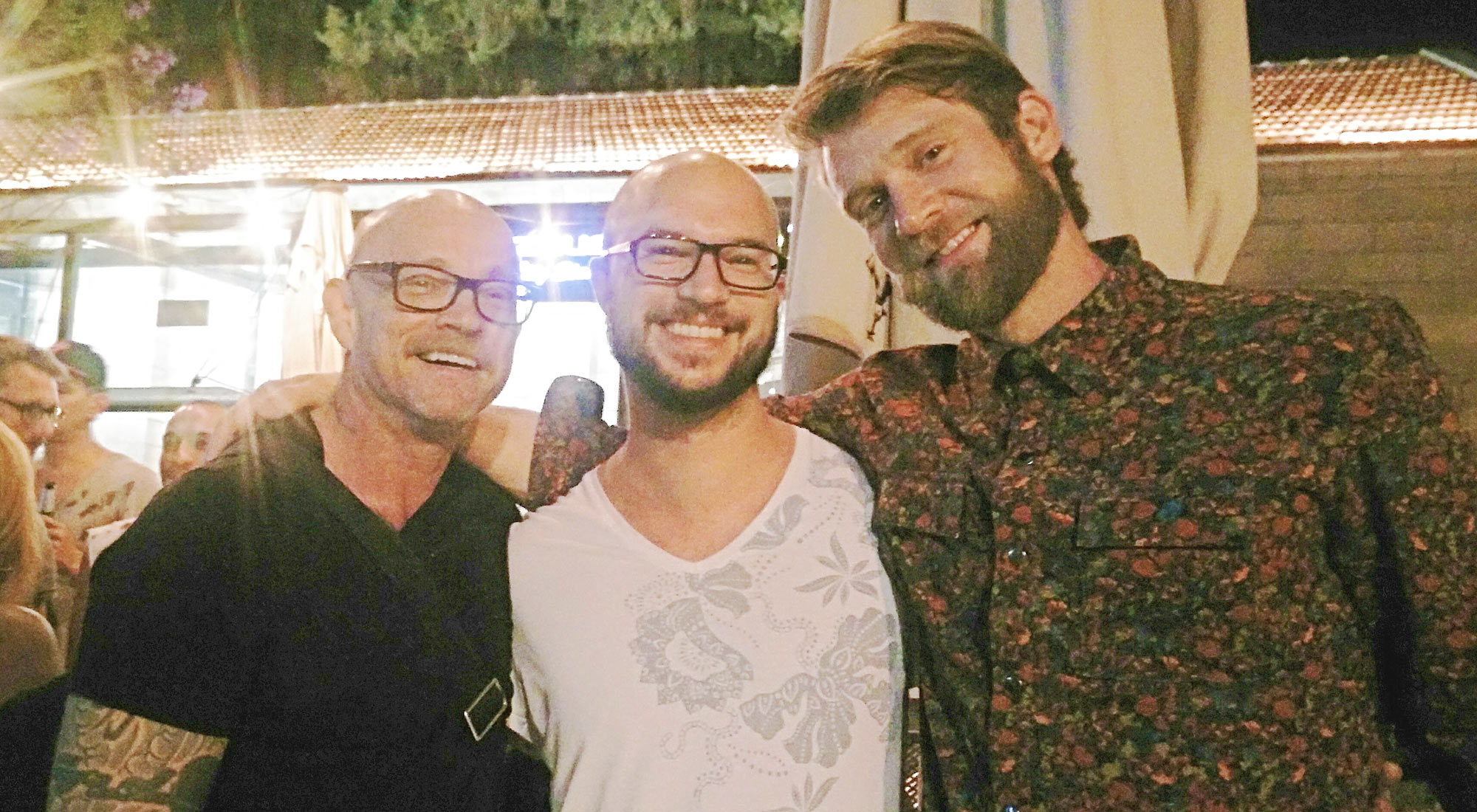 Photo of actor of adult entertainers and LGBT activists Buck Angel and Colby Keller with Martin Wolkner, director of Filmfest homochrom in Cologne und Dortmund